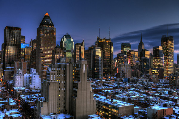 Blue Nights - Midtown Manhattan seen from 52nd Street and 11th Avenue in Winter
